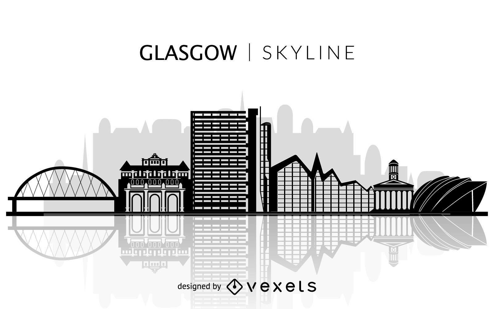 Glasgow skyline silhouette