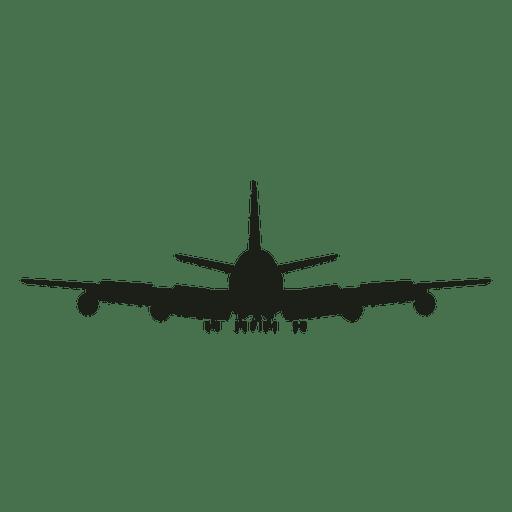 Vista frontal de la silueta del avión