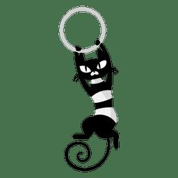 Gato preto, jogando caricatura
