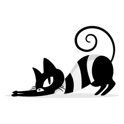Black cat scratching cartoon