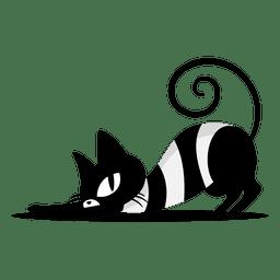 Gato negro rascarse de dibujos animados