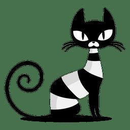 Gato negro sentado dibujos animados