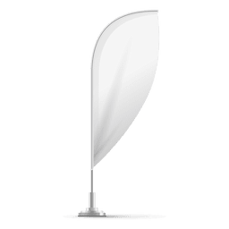 Bandera convexa pluma en blanco