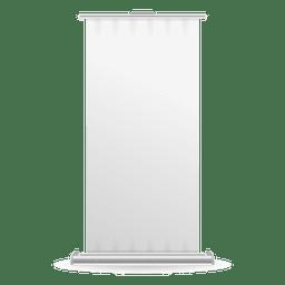 Vista frontal de la bandera del rodillo en blanco