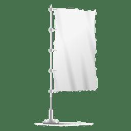 Bandera vertical en blanco en el poste