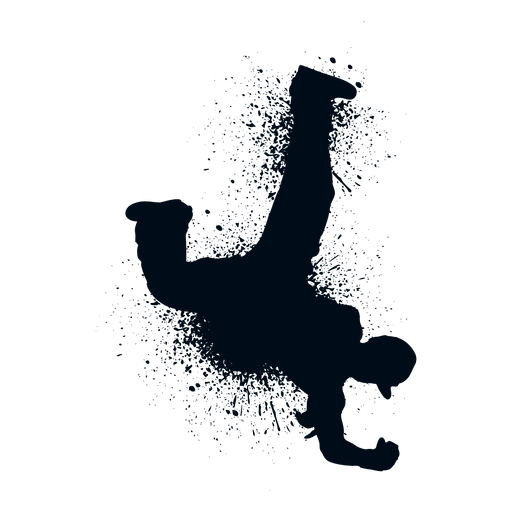 Break dance windmill splash paint silhouette Transparent PNG