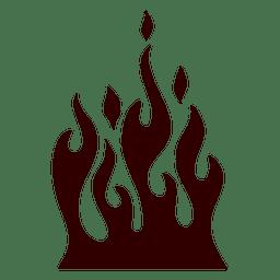 Icono de silueta de fuego ardiente
