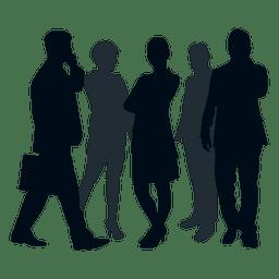 Silueta de grupo de equipo de negocios
