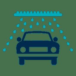 Carro no ícone do túnel da lavagem