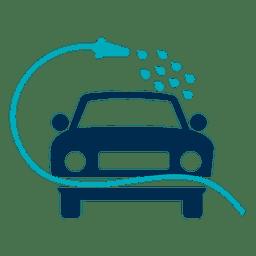 Carro lavado com ícone de mangueira
