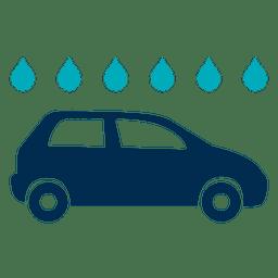 Icono de coche con gotas de agua