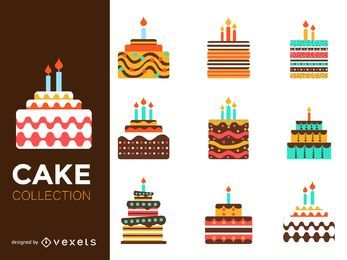 Flat colorful cake illustration set