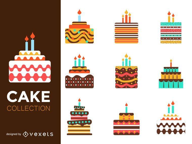 Conjunto de ilustração de bolo colorido liso