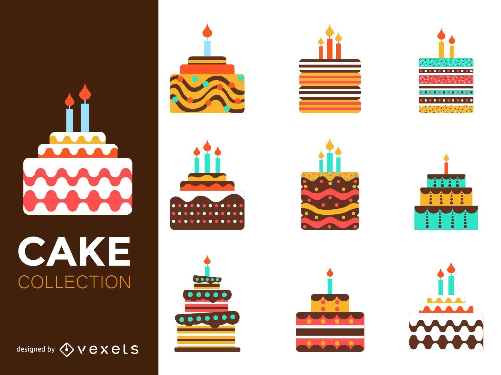 Flat colorful cake illustration set