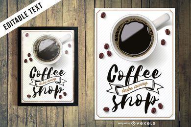 Sinal de café caligráfico com texto editável