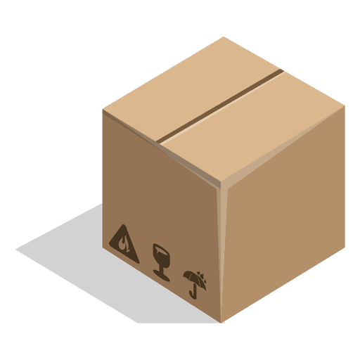 Closed box with package signs Transparent PNG