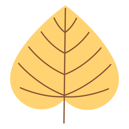 Cordate yellow autumn leaf