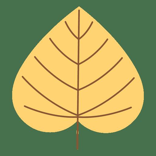 Hoja de otoño amarilla cordada