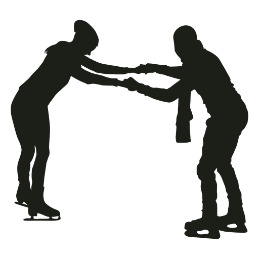 Couple ice skating silhouette Transparent PNG