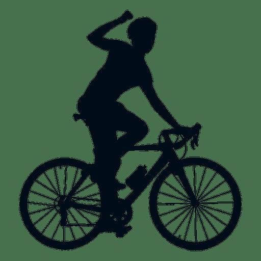 Silueta de ciclista ganador