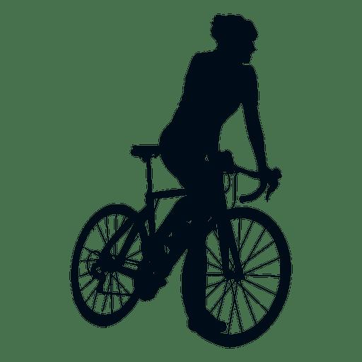 Cyclist climbing silhouette