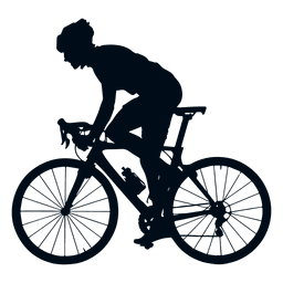 Cyclist silhouette view side