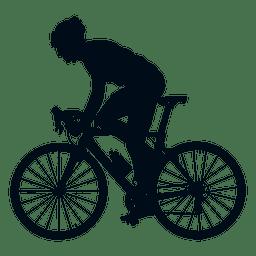 Vista lateral de la silueta del ciclista