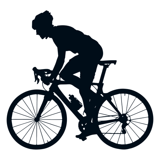 Ciclista silueta vista lateral