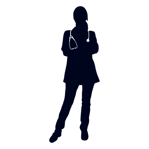 Doctor hands crossed silhouette