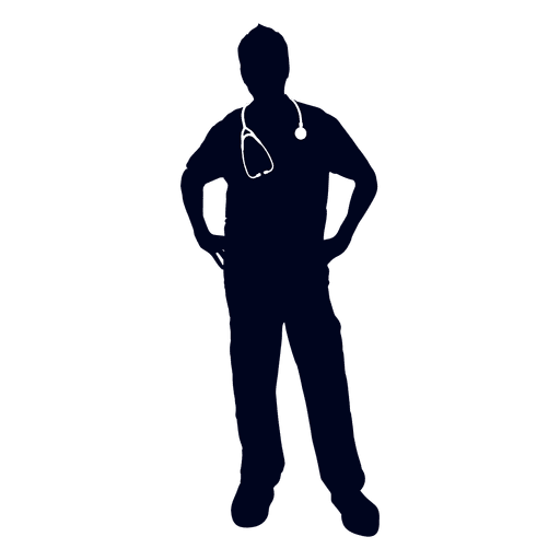 Doctor hands on waist silhouette Transparent PNG