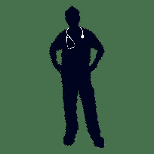 Doctor manos en silueta de cintura