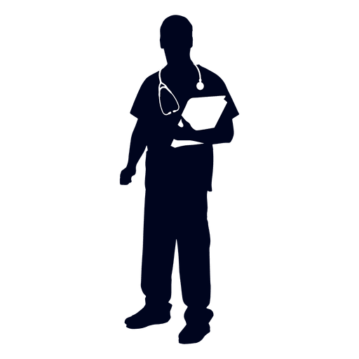 Doctor holding book silhouette