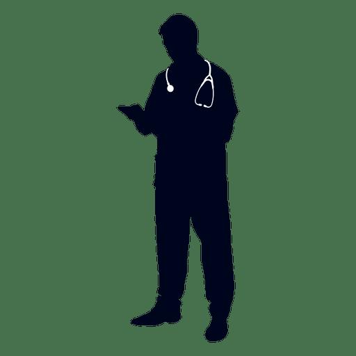 Doctor leyendo el archivo de silueta