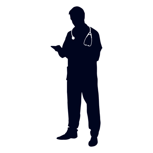 Doctor reading file silhouette