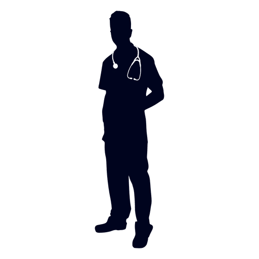 Doctor wearing stethoscope silhouette Transparent PNG