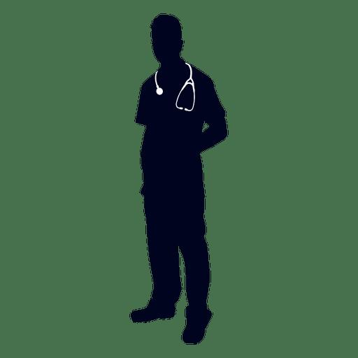 Doctor wearing stethoscope silhouette