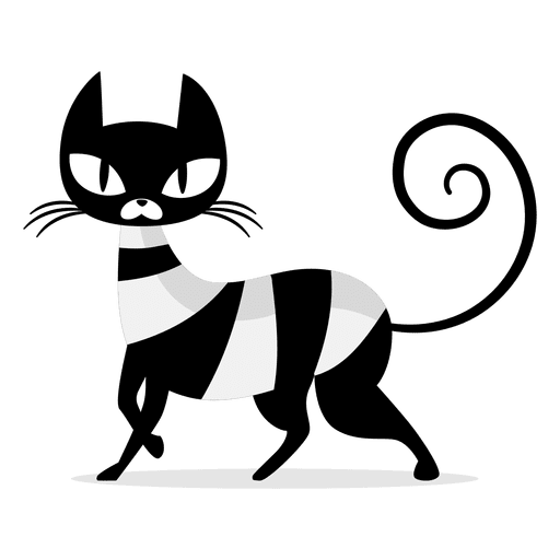 Elegant Black Cat Cartoon Transparent PNG