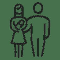 Família com traçado de bebê