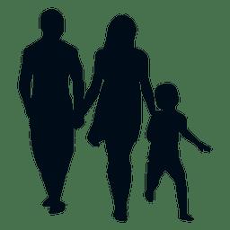 Família, com, criança, silueta