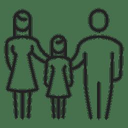 Família, com, menina, criança, apoplexia