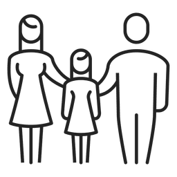 Family with girl child stroke