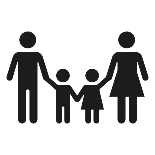 Family with two children icon - Transparent PNG & SVG vector