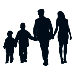 Família, com, dois filhos, silueta