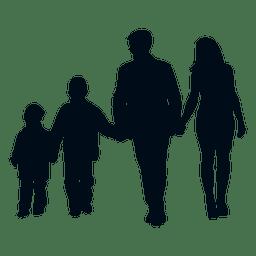 Familie mit zwei Kindern Silhouette