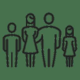 Familia con dos hijos trazo