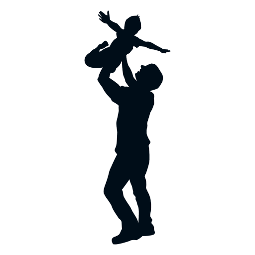 Father throwing child silhouette Transparent PNG