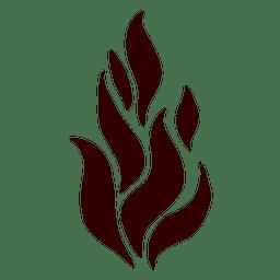 Icono de silueta aislada de llama