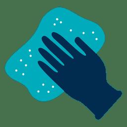 Icono de guante y trapo