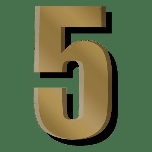Símbolo de cinco figura de barra de ouro Transparent PNG