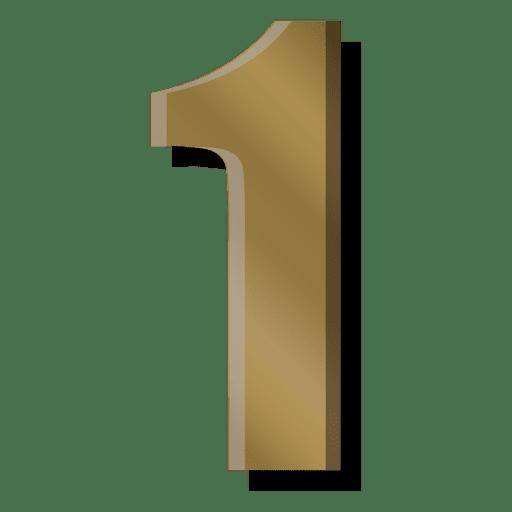 Gold bar figure one symbol Transparent PNG